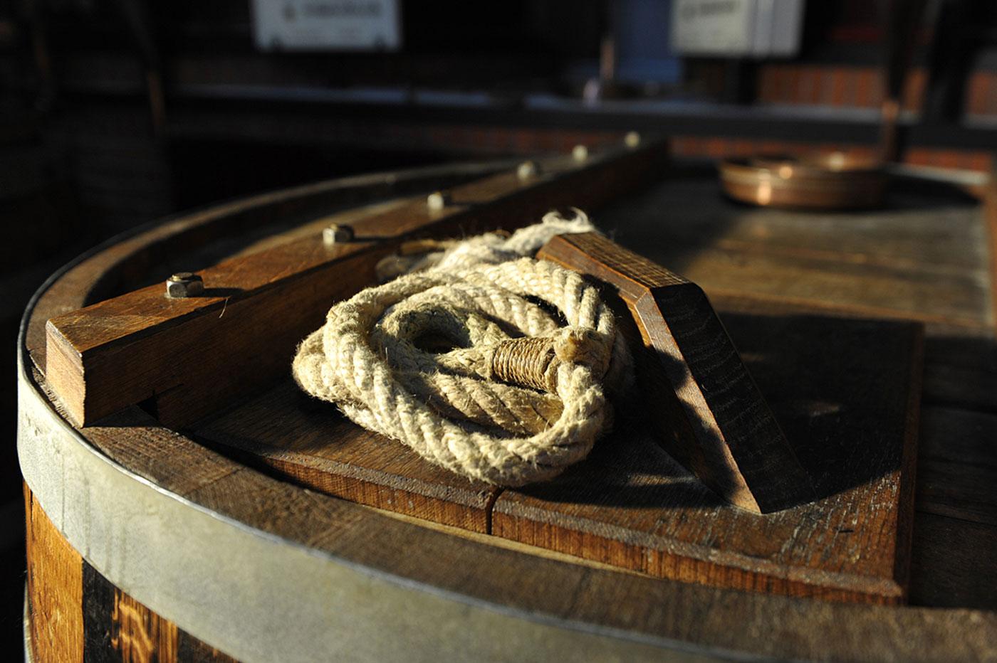 Barrel at the distillery